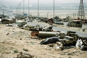 Demolished_vehicles_line_Highway_80_on_18_Apr_1991