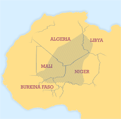 The Tuareg Area (courtesy of en.wikipedia)