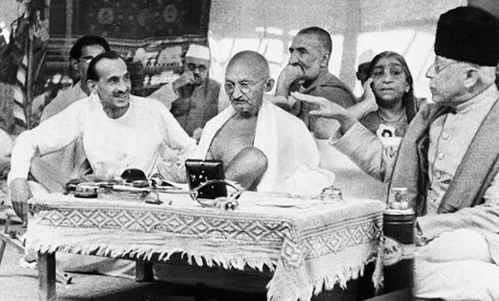 Gandhi surrounded by his supporters - August 1942