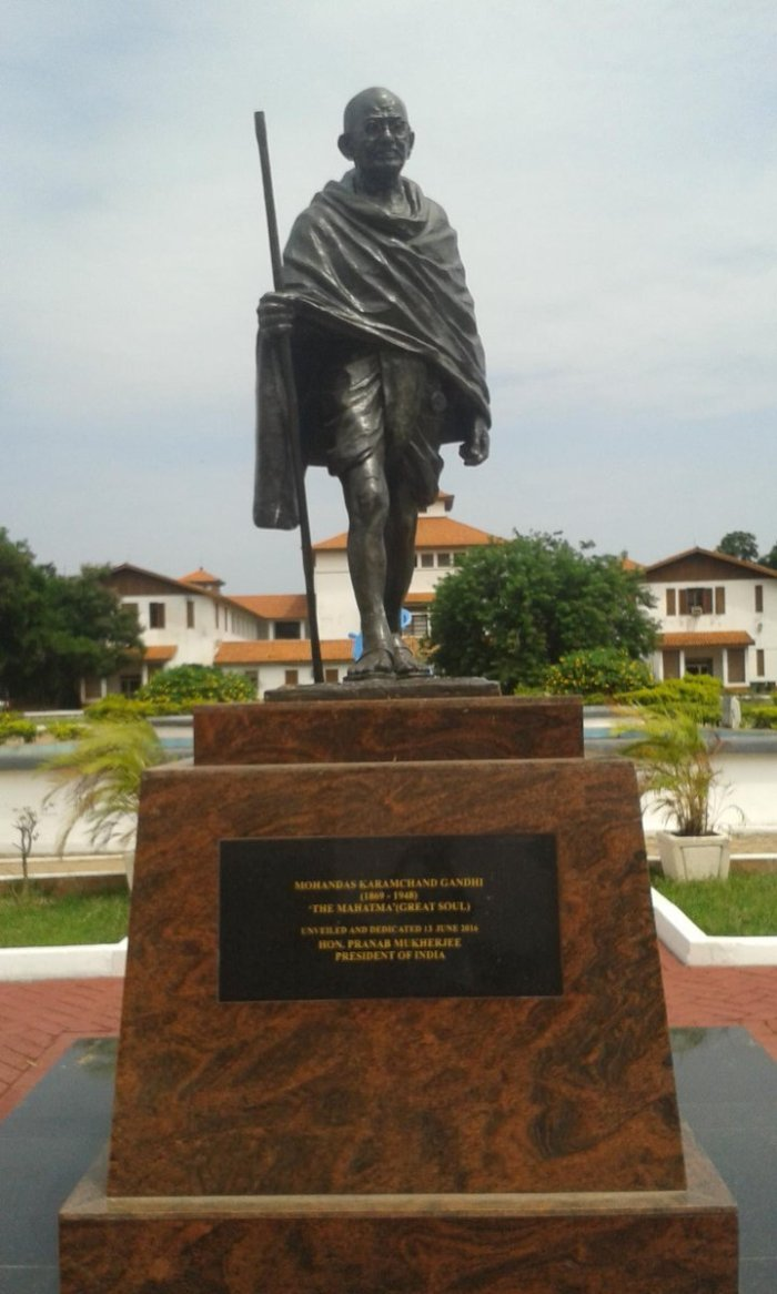 The Gandhi statue - the target for removal amid claims Gandhi was racist towards black Africans