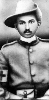 Mahatma Gandhi in the uniform of a sergeant as the leader of Indian Ambulance Corps. During the Boer War of 1899 and the Zulu Rebellion of 1906. He donned the Khaki uniform and set his mission of mercy and brought help and succour to many a wounded soldier.
